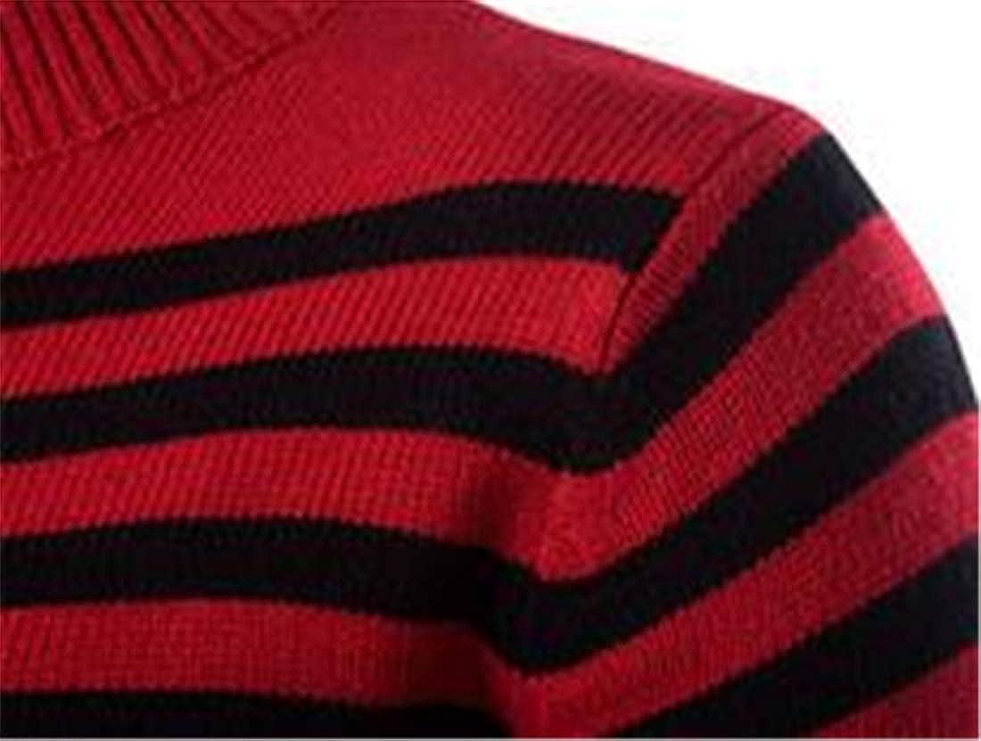 XiaoTianXinMen XTX Men Winter Turtleneck Quarter Zipper Striped Slim Pullover Knit Sweater
