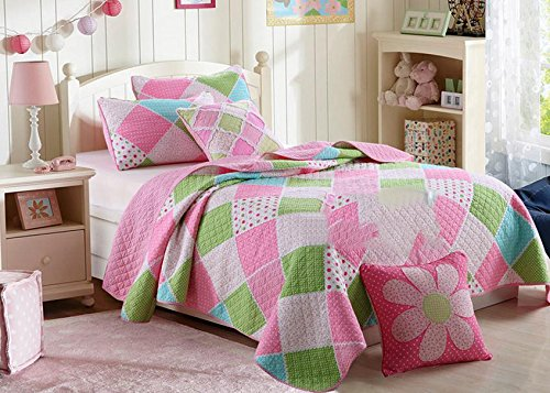 3-Piece Stitching Diamond Polka Dot Floral Patchwork Bedspread Quilt Set
