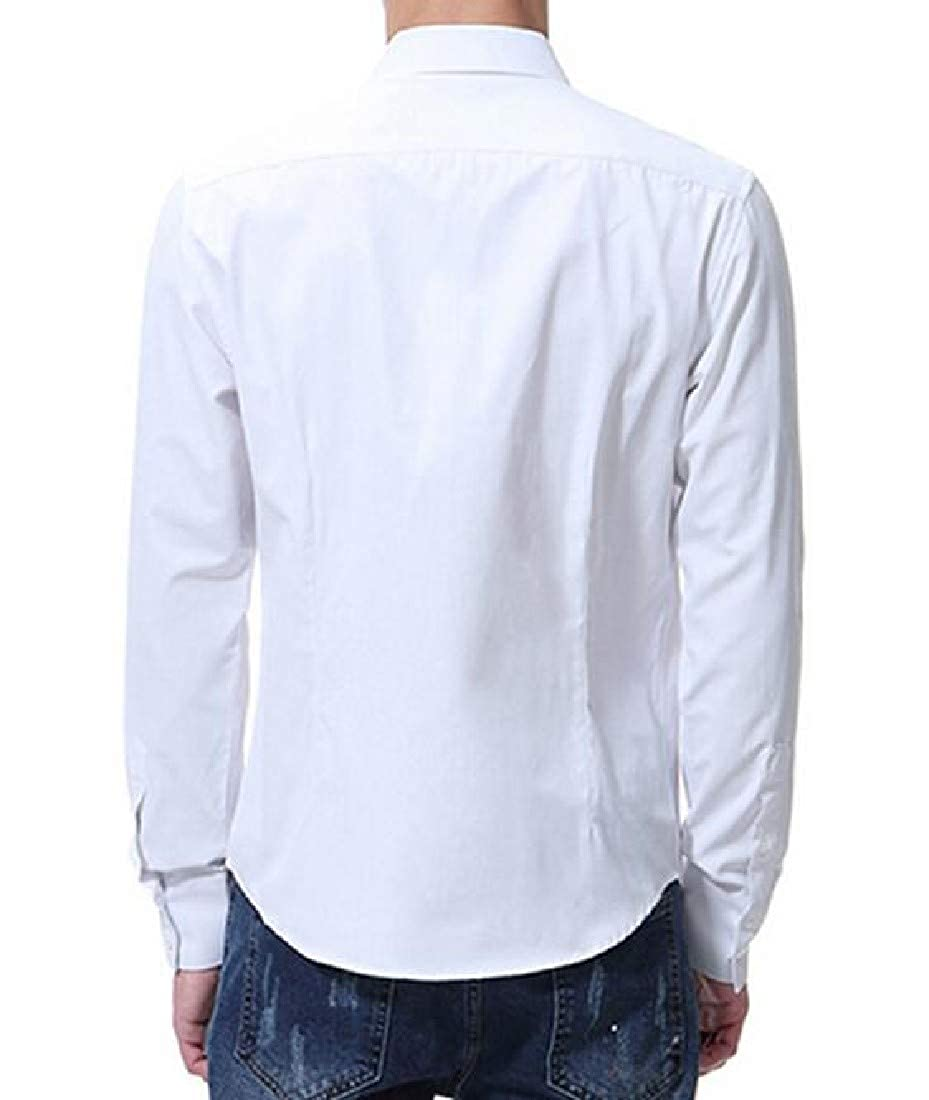 Tootless-Men Long Sleeve Casual Slim Fit Buttoned Turn-Down Collar Woven Shirt