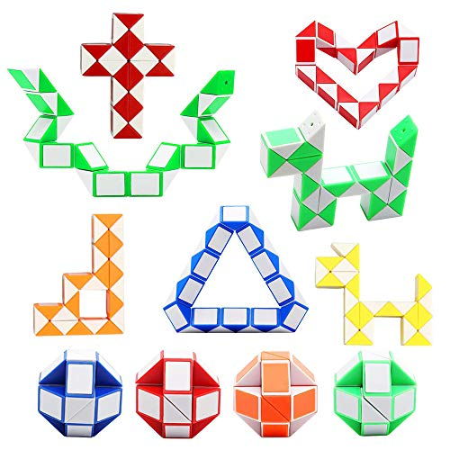 12 Pack 24 Blocks Magic Snake Cube, Mini Plastic Puzzle Cube, Fidget Toys ,Mini Snake Speed Cubes for Kids Party Bag Filler, Random Colors, Party Supplies ()