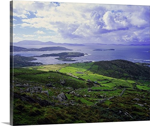 Olimpio Fantuz Premium Thick-Wrap Canvas Wall Art Print entitled Ireland, County Kerry, Ring of Kerry, view from Coomakesta pass (View Art Wall Coastal)
