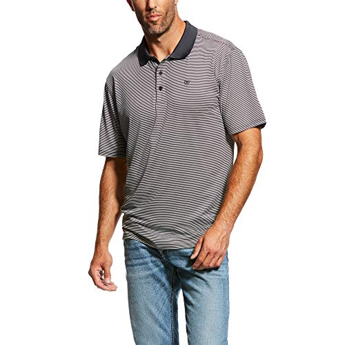 ARIAT Men's Micro Stripe Tek Polo T-Shirt Ebony Size 2XL Black Mini Stripe Polo