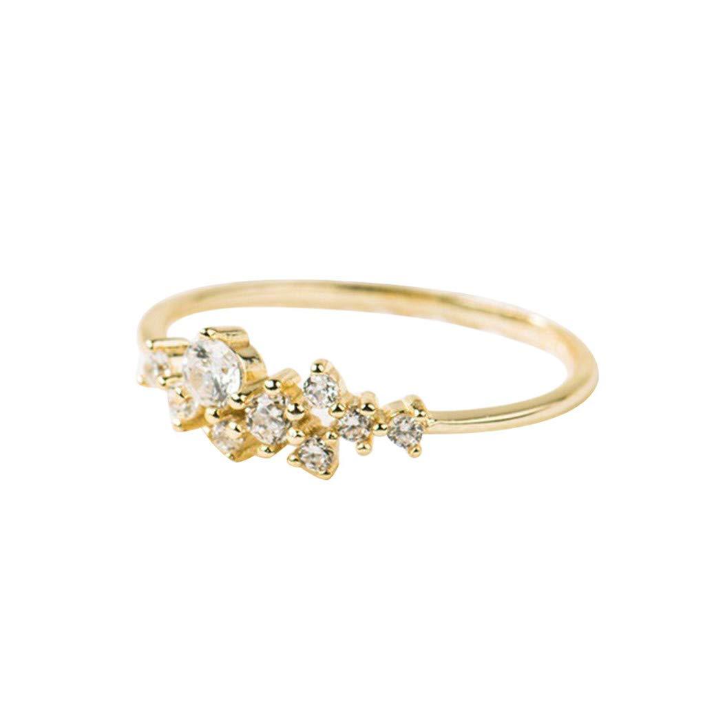 Rings Set for Teens,Crystal Simple 3 Diamonds Ring Zirconia Simple Rings for Women Anti Allergies,Gold,10#