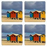 Liili Square Coasters IMAGE ID 17306109 Row of beach huts at Muizenberg beach Cape Town South Africa on sunny winter day