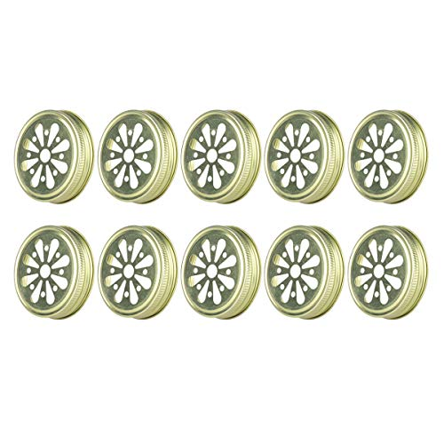 CHICTRY 10Pcs Mason Jar Lids Stainless Steel Rust Resistant Hollow Out Flower Shape Mason Ball Lid Inserts with Straw Hole for Canning Drinking Jars 70mm Inner Diameter Gold One Size ()