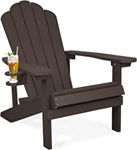 Patio Watcher Poly Lumber Classic Adirondack Chair with Cup Holder, Weather Resistant 1 Chair Patio Plastic Adirondack Chair for Lawn, Garden, Backyard, Deck(Coffee)