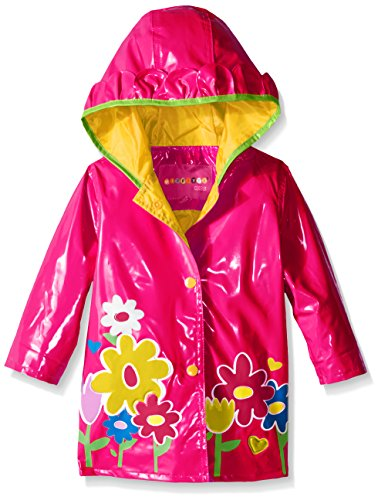 Wippette Baby Girls' Big Flower Rainwear, Pink Glow, 12 Months