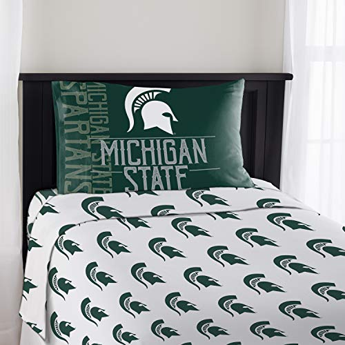 NCAA Michigan State University Spartans Bed and Bath Collection (Twin Sheet Set) - Large Ncaa Bath