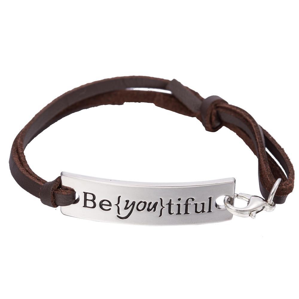 Shiny Silver Tone Engraved Message Be{you}tiful Charm Leather Bracelet Qiju B109308-2