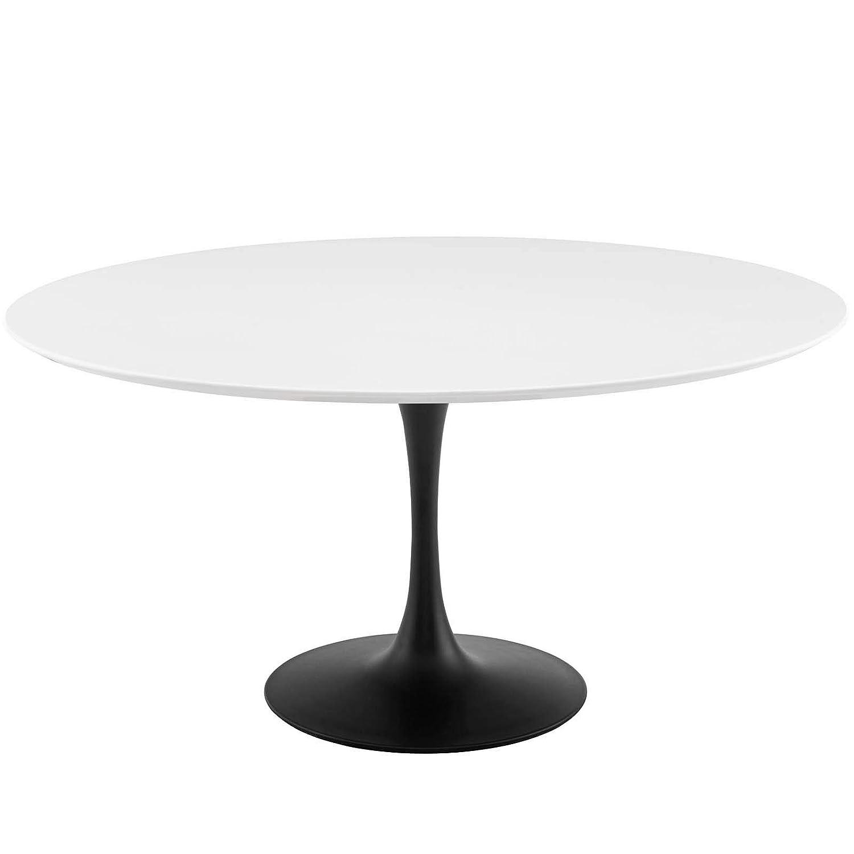 "Modway EEI-3524-BLK-WHI Lippa 60"" Round Wood Dining Table, White Top, Black Base"