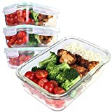 [4-Pack] Glass Meal Prep Containers - Glass Food Storage Containers - Glass Storage Containers with Lids - Glass meal prep boxes - Dishwasher Microwave, Oven & Freezer Safe-BPA Free 850ml 28oz 3.5Cups