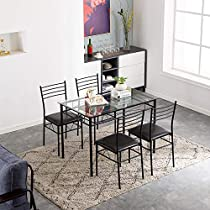 MTFY Dining Table Set,5 Pieces Dining Set with Modern Tempered Glass Top Table and PU Leather Chair Set Home Kitchen Dining Room Furniture (Black)