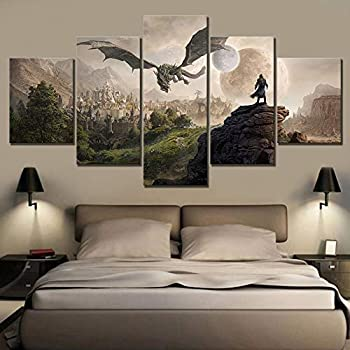 Home Decor Modular Canvas Picture 5 Piece Elder Scrolls 4 Skyrim Painting Poster Wall for Home Canvas Painting,A,20×35×2+20×45x2+20x55×1