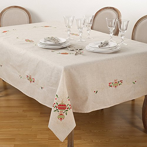 Fennco Styles Embroidered Ornament Design Christmas Holiday Linen Blend Tablecloth (67''x160'' Tablecloth) by fenncostyles.com (Image #1)