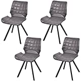 Festnight Set of 4 Home Kitchen Dining Chairs Leather Upholstery Armless Side Chair with Foam-Padded Seat and Steel Frame Legs Home Waiting Room Furniture Grey Review