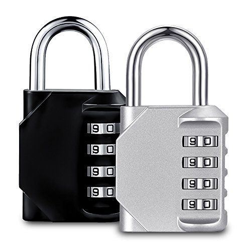 Combination Lock Master Padlock 4 Digit Number Waterproof Gym Locker for Outdoor Sports Gate Fence School Storage Case Travel Luggage (Black & Silver, Pack of 2) by HUANXU