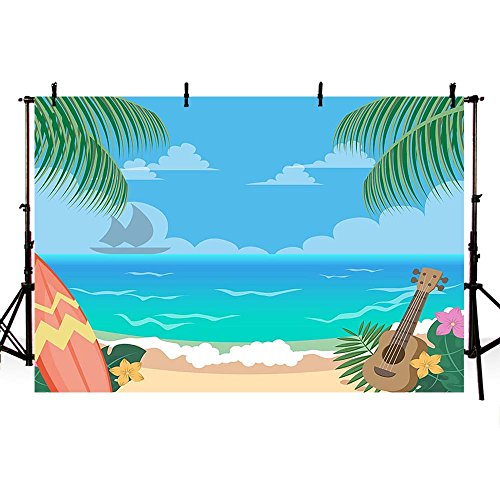 COMOPHOTO Blue Sky and Sea Beach Backdrops for Photography Cartoon Palm Tree Summer Photo Booth Backgrounds Sandy Beach Kids Props 7x5ft