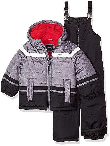 London Fog Boys' Toddler' 2-Piece Snow Pant & Jacket Snowsuit, Black Print/red pop, ()