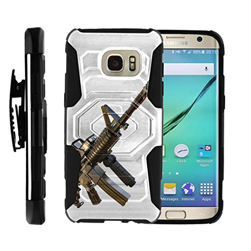 Samsung Galaxy S7 Edge Case , [ Armor Reloaded ] Rugged Belt Clip + Holster Kickstand Combo Guns and Ammo for S7 Edge G935 Cover by Miniturtle - Assault Gun (Body Assault Full)