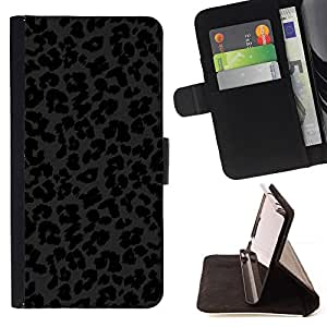 For Motorola Moto E (1st Gen, 2014) Leopard Pattern Animal Fur Black Dark Style PU Leather Case Wallet Flip Stand Flap Closure Cover