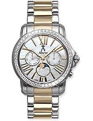 Allurez White Topaz Two-Tone Wrist Watch w/ Mother Of Pearl Dial Swiss Made