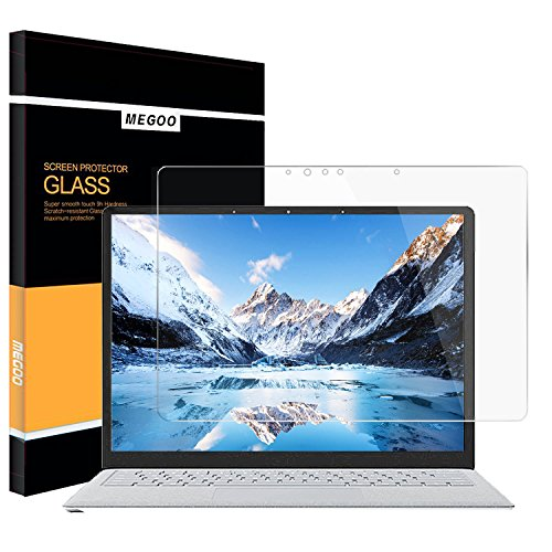 Megoo Surface Laptop 2 Screen Protector [Tempered Glass] 2018, Easy Installation Ultra Clear Anti-Scratch, Friendly Touching Screen Shield, Compatible for Microsoft Surface Laptop 2017-13.5 Inch