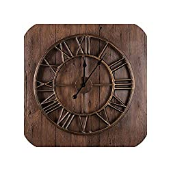 Wenzi-day Large Metal Wall Clock Retro Style Creative Iron Watch Big Wall Clocks Home Decor 60x60 cm,Gold