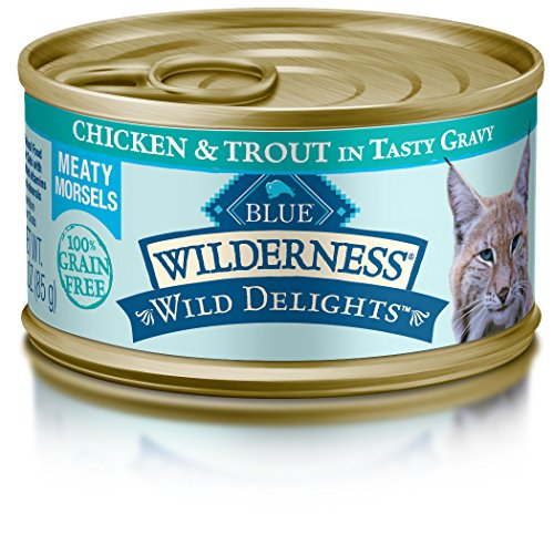 BLUE Wilderness Wild Delights Adult Grain Free Meaty Morsels Chicken & Trout in Tasty Gravy Wet Cat Food 3-oz (pack of ()