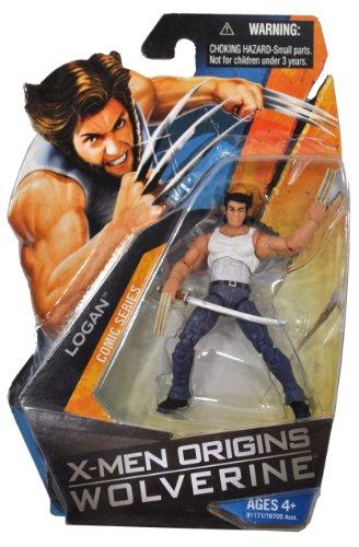 X-Men Origins Wolverine Comic Series 4 Inch Tall Action Figure - LOGAN (White Tank Top and Blue Denim) with Samurai Sword