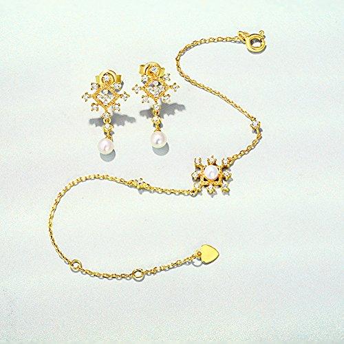 - OMZBM Jewelry Set Natural Freshwater Pearl Bracelet Women Elegant Charm S925 Sterling Silver 9K Gold Plated Pendant Earrings Birthday Gift For Girlfriend,Braceletearrings