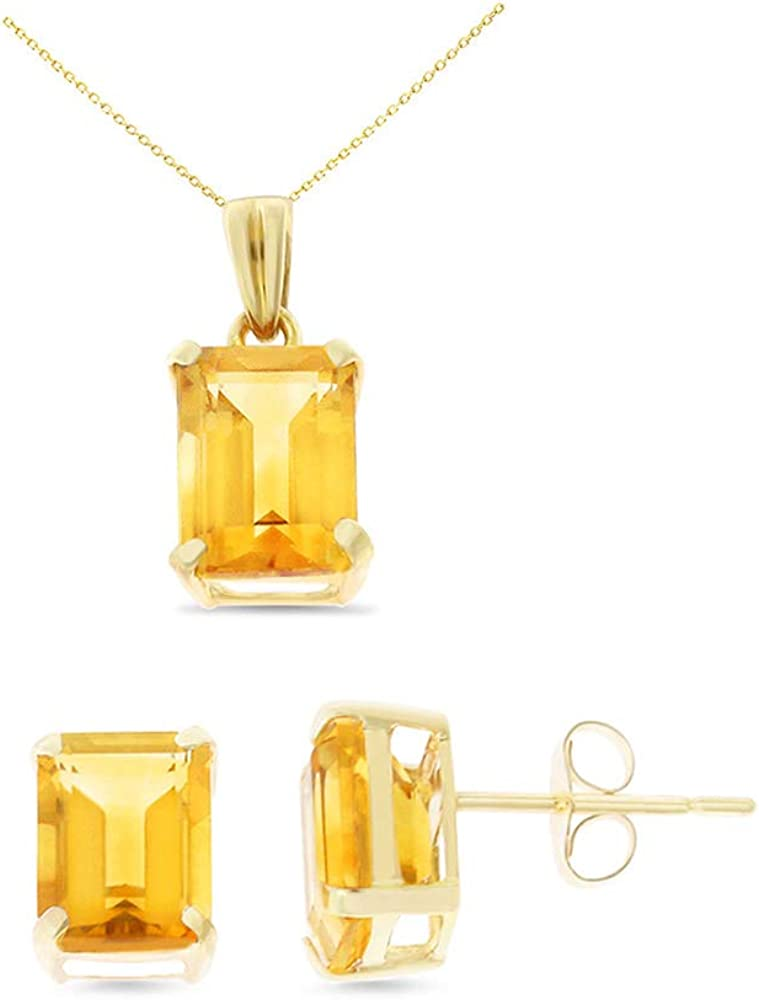 Pendant Set With Square Rolo Chain 14K Yellow Gold 6 x 8 mm Emerald Cut Genuine Citrine Earrings