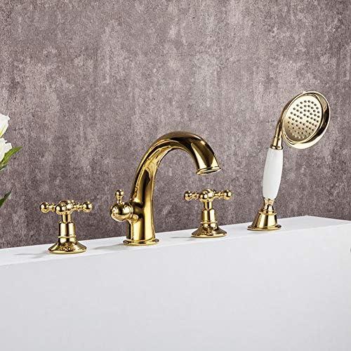 浴槽の蛇口、バスルームの浴槽フィラー、浴槽の蛇口(ハンドシャワー付き)豪華なデッキマウント浴槽の蛇口、金