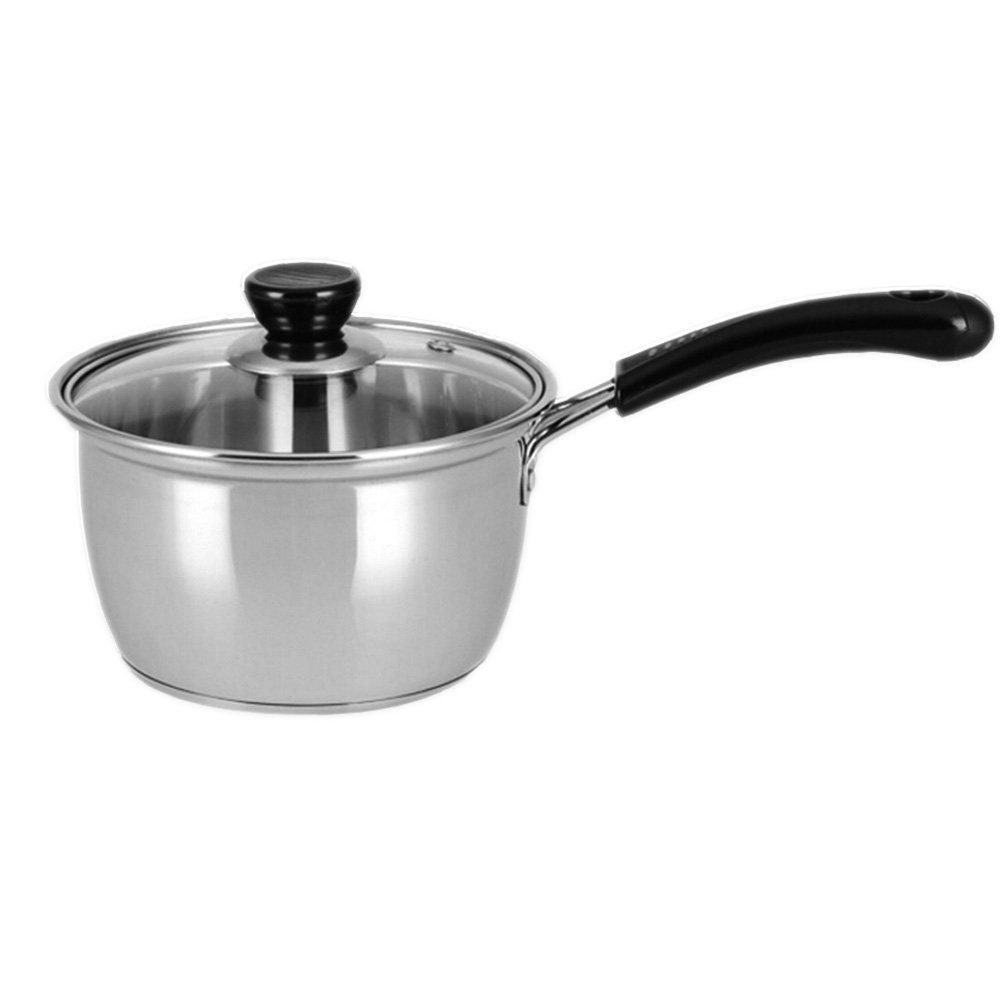 Sauce Pot,Saucepan,Nonstick Dishwasher Safe Stainless Steel Saucepan Soup Pot, Covered Straining Pot with Glass Lid Cookware,2 Quart by Meleg Otthon