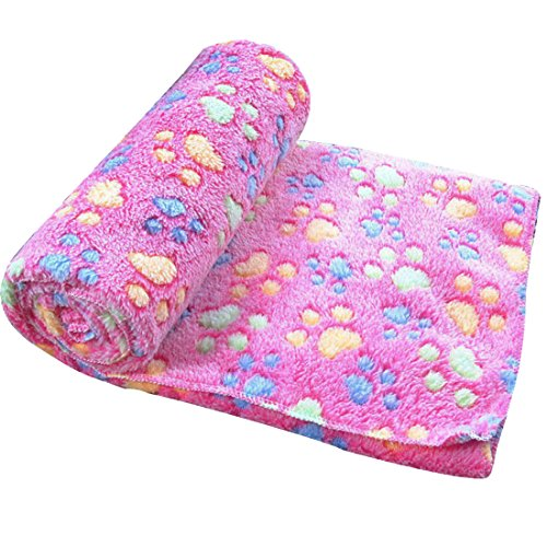 Spring fever Doggy Warm Bed Mat Paw Print Cushion Soft Dog Cat Puppy Pet Blanket Rose Red L(39.431.5 inch) (Quilt Cheap Online Buy Covers)