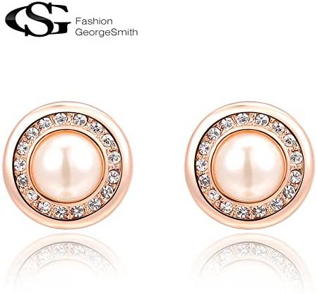 G&S Charming Round Shaped Plated White Gold / Rose Gold Sparkling Czech Stones Filled Pearl Earrings