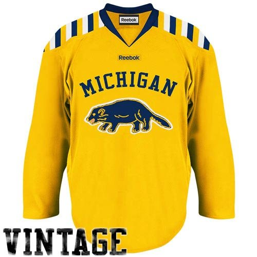 955ac8ae5 Amazon.com  NCAA Reebok Michigan Wolverines Premier Hockey Jersey -  Maize Navy Blue (Small) (0886835495705)  Books