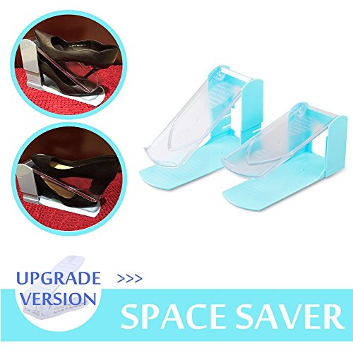 CECIINION Adjustable Shoe Slotz Storage Rack Holder Organizer Space Saver (2, BLUE)