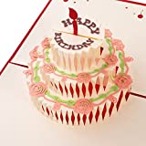 Unomor Happy Birthday Card, 3 Layers Cake Pop Up Birthday Card with Cute Red Candle, Envelope Included