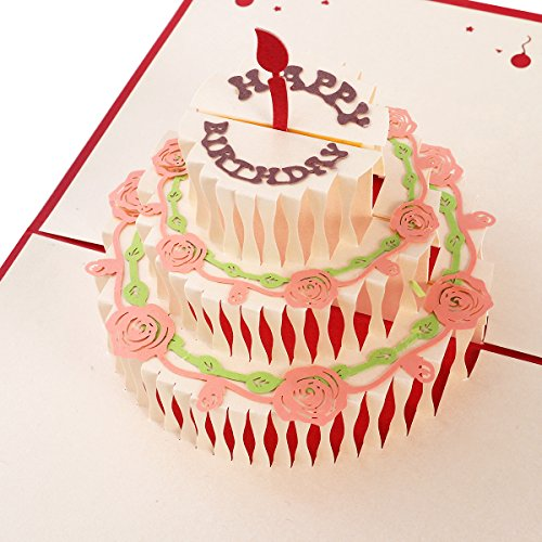 Unomor Happy Birthday Card 3 Layers Cake Pop Up Birthday Card with Cute Red Candle Envelope Included