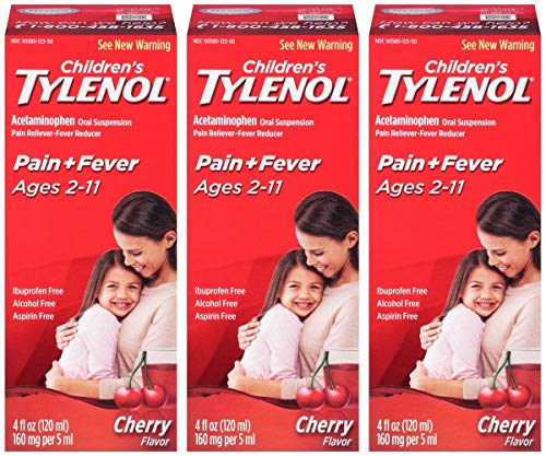 TYLENOL Children's Pain & Fever Oral Suspension Cherry Blast Flavor 4 OZ - Buy Packs and Save (Pack of 3)
