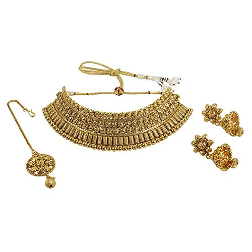 MUCHMORE Bollywood Indian Gold Plated Beautiful Traditional Polki Set (Traditional Indian Gold Jewelry)