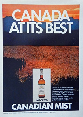 Canadian Mist Whiskey, 70's print ad. Color Illustration (Canada at its best) original 1972 Magazine Art