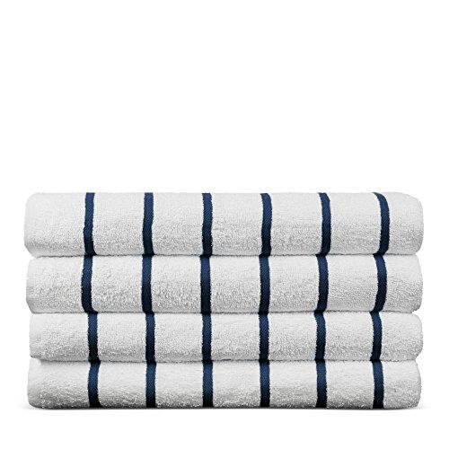 Luxury Hotel & Spa Towel Turkish Cotton Pool Beach Towels - Navy Blue- Striped - Set of 4 - Luxury Cabana Sheet Sets