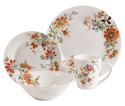 Gibson Home 92950.16RM Doraville 16 Piece Floral Dinnerware Set, Multicolor