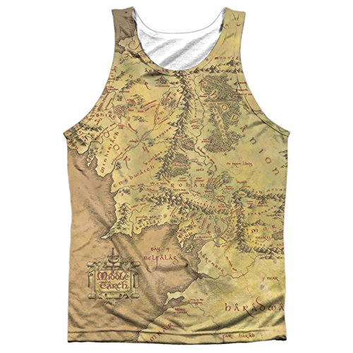 Tank Top: The Lord Of The Rings: The Fellowship Of The Ring- Middle Earth Map (Black Back) Size M (Lord Of The Rings Eye Of Mordor)