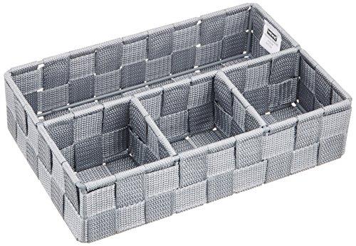 WENKO 21531100 Aufbewahrungskorb Adria Klein Grau - Badorganizer, 100 %  Polypropylen, 26 x 6.5 x 17 cm, Grau
