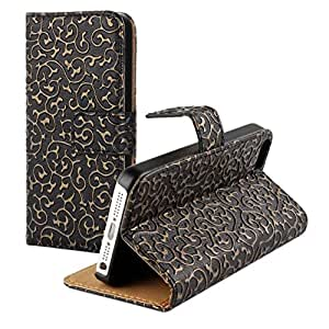 HongRD(TM)Luxury Palace Sculpture Pattern PU Leather Wallet Case With Credit Card Slots For Iphone 5 5S + One Stylus Pen (Black)