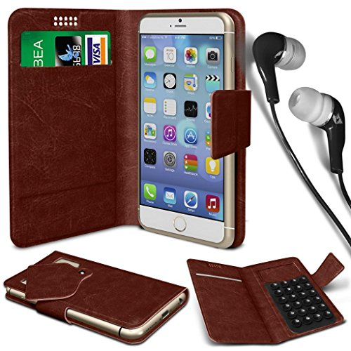 N4U Online® - Apple iPhone PU aspiration étui en cuir Wallet Pad Cover & 3,5 mm stéréo intra-auriculaires - Brown