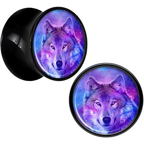 Black Acrylic Harmonious Wolf Saddle Plug Pair 13mm Wolf Saddle Plug
