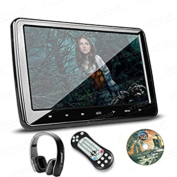 XTRONS 10.1 Inch HD Digital Screen Car Headrest DVD Player Ultra-thin Detachable Touch Button with HDMI Port One New Version Black IR Headphone Included